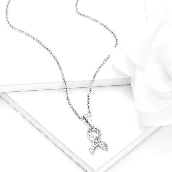 Rhodium Plated Heart Filigree Breast Cancer Awareness Ribbon Pendant