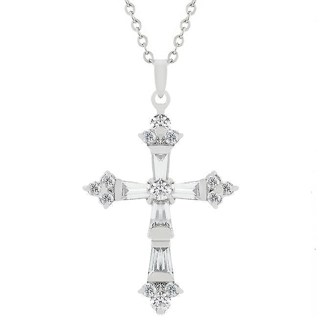 Brilliant Cubic Zirconia Cross Pendant - Jewelry Xoxo