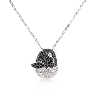 Black and White Cubic Zirconia Baby Bird Pendant - Jewelry Xoxo