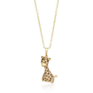 Golden Cubic Zirconia Giraffe Pendant Necklace - Jewelry Xoxo