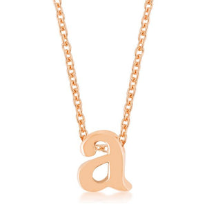 Rose Gold Finish Initial A Pendant - Jewelry Xoxo