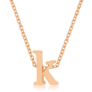Rose Gold Finish Initial K Pendant - Jewelry Xoxo