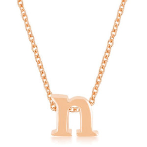 Rose Gold Finish Initial N Pendant - Jewelry Xoxo