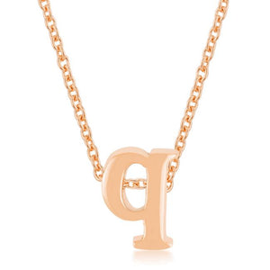 Rose Gold Finish Intiial Q Pendant - Jewelry Xoxo