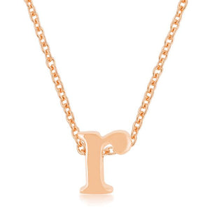 Rose Gold Finish Initial R Pendant - Jewelry Xoxo