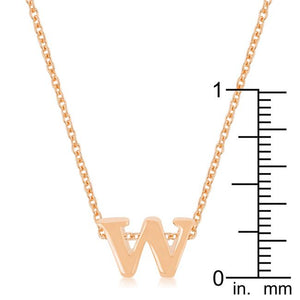 Rose Gold Finish Initial W Pendant - Jewelry Xoxo