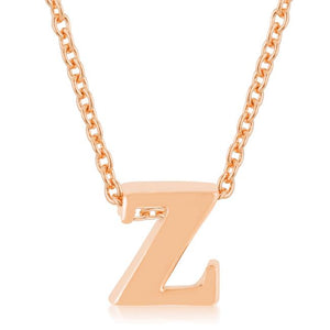 Rose Gold Finish Initial Z Pendant - Jewelry Xoxo