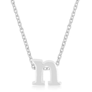 Rhodium Plated Finish Initial N Pendant - Jewelry Xoxo