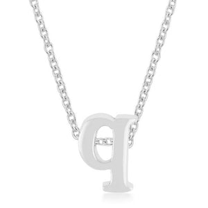 Rhodium Plated Finish Initial Q Pendant - Jewelry Xoxo