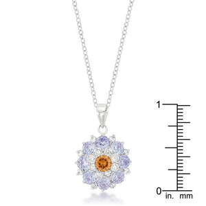 Rhodium Plated Cubic Zirconia Cluster Circle Pendant - Jewelry Xoxo