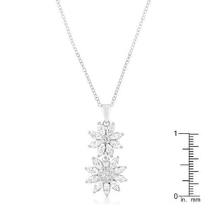 Rhodium Plated Dual Floral Pendant - Jewelry Xoxo