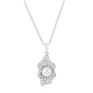 Rhodium Plated Oyster Pendant - Jewelry Xoxo