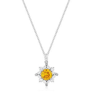 Classic Sun Pendant in Rhodium Plated - Jewelry Xoxo