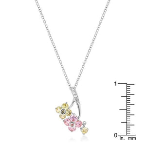 Rhodium Plated Floral Couplet Pendant - Jewelry Xoxo