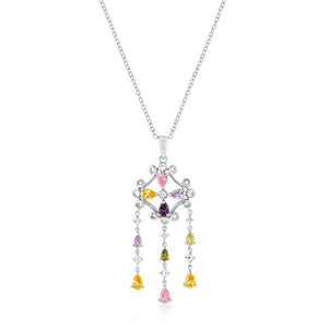 Rhodium Plated Multi-Color Dangle Pendant - Jewelry Xoxo