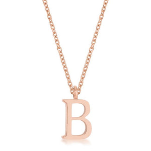 Elaina Rose Gold Stainless Steel B Initial Necklace - Jewelry Xoxo