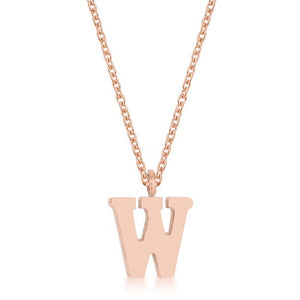 Elaina Rose Gold Stainless Steel W Initial Necklace - Jewelry Xoxo