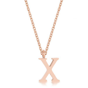Elaina Rose Gold Stainless Steel X Initial Necklace - Jewelry Xoxo