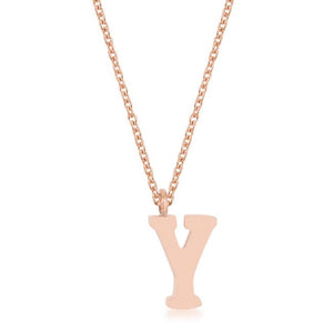 Elaina Rose Gold Stainless Steel Y Initial Necklace - Jewelry Xoxo