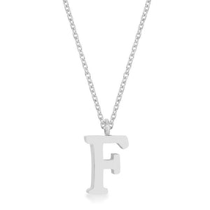 Elaina Rhodium Stainless Steel F Initial Necklace - Jewelry Xoxo
