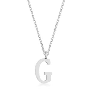 Elaina Rhodium Stainless Steel G Initial Necklace - Jewelry Xoxo