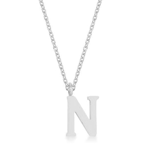 Elaina Rhodium Stainless Steel N Initial Necklace - Jewelry Xoxo