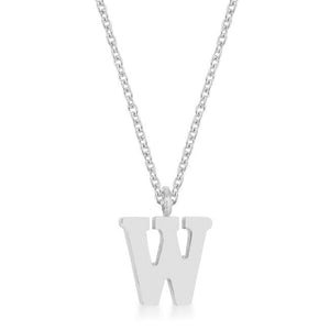 Elaina Rhodium Stainless Steel W Initial Necklace - Jewelry Xoxo