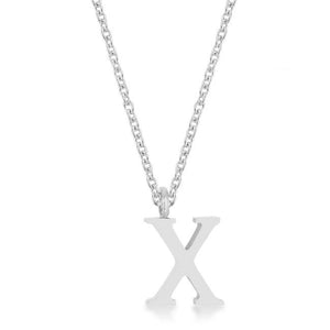 Elaina Rhodium Stainless Steel X Initial Necklace - Jewelry Xoxo