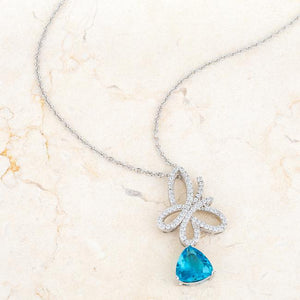 Claudia 2.3ct Aqua CZ Rhodium Butterfly Drop Necklace - Jewelry Xoxo