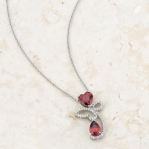 Clarise 3.2ct Garnet CZ Rhodium Abstract Heart Drop Necklace - Jewelry Xoxo