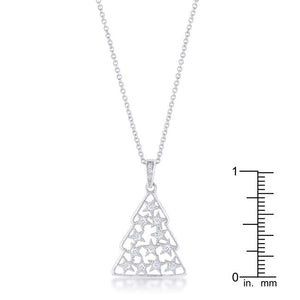 .2 ct CZ Rhodium Christmas Tree Pave Holiday Pendant - Jewelry Xoxo