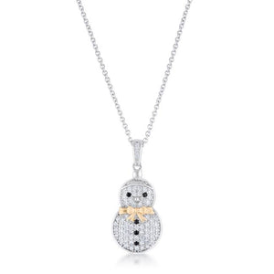 .35 ct CZ Two-Tone Snowman Pave Holiday Pendant - Jewelry Xoxo
