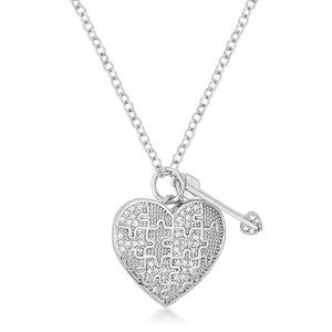 .12 Ct Rhodium Heart and Arrow Pendant with CZ - Jewelry Xoxo