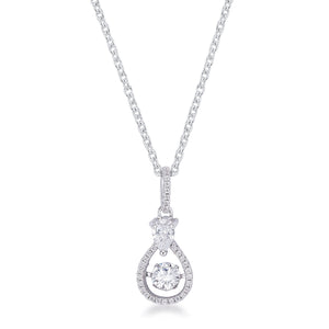 1.18Ct Dainty Rhodium Plated Micro Pave Teardrop Dancing CZ Pendant - Jewelry Xoxo