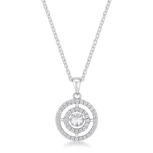 .9Ct Timeless Rhodium Plated Double Pave Circle Dancing CZ Pendant - Jewelry Xoxo