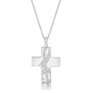 .75Ct Rhodium Pated Elegant CZ Accented Treble Clef Cross Pendant - Jewelry Xoxo