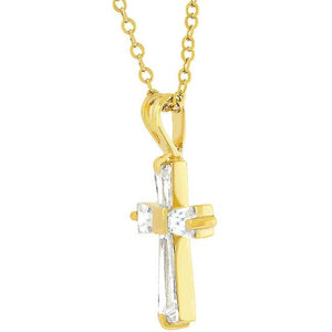 Goldtone Finish Baguette Cross - Jewelry Xoxo