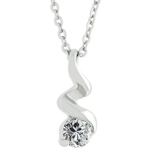 Rhodium Plated Finish Twist Pendant - Jewelry Xoxo