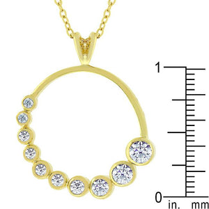 Golden Graduated Cubic Zirconia Circle Pendant - Jewelry Xoxo