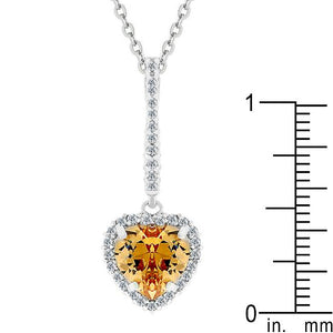 Champagne Heart Drop Pendant - Jewelry Xoxo
