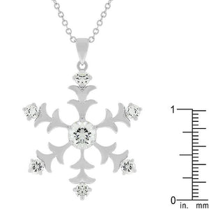 Rhodium Plated Snowflake Pendant - Jewelry Xoxo
