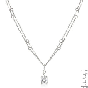 Solitaire Pendant on Double Chain - Jewelry Xoxo