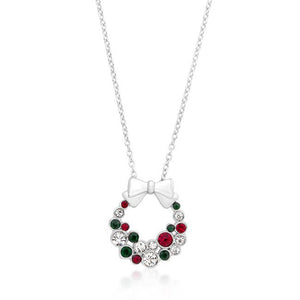 Holiday Wreath Colored Crystal Pendant - Jewelry Xoxo