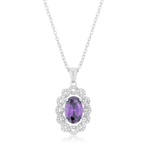 Amethyst Oval Drop Necklace - Jewelry Xoxo