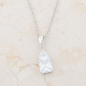 Classic Cubic Zirconia Sterling Silver Drop Necklace - Jewelry Xoxo