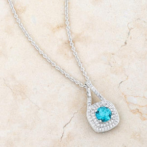 Christal 1.2ct Aqua CZ Rhodium Classic Necklace - Jewelry Xoxo