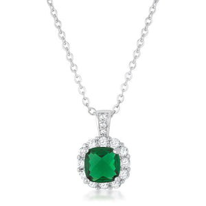 Liz 2.6ct Emerald CZ Rhodium Classic Necklace - Jewelry Xoxo