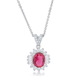 Chrisalee 3.2ct Ruby CZ Rhodium Classic Drop Necklace - Jewelry Xoxo