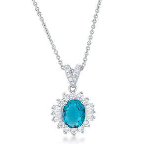 Chrisalee 3.2ct Aqua CZ Classic Drop Necklace - Jewelry Xoxo