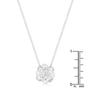 Maya 1.37ct CZ Rhodium Rose Drop Necklace - Jewelry Xoxo